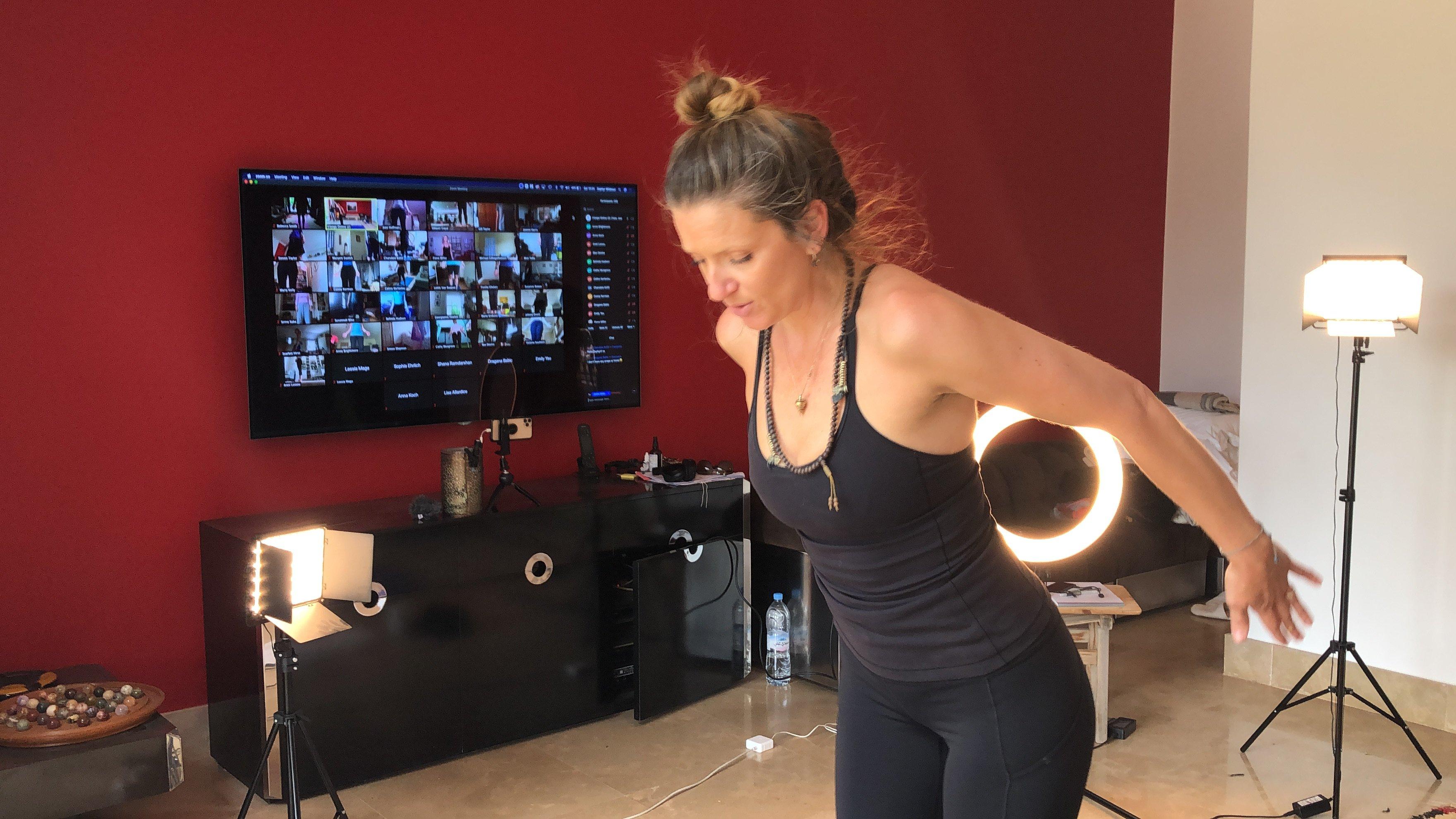 Zephyr teaching Livestream Yoga class